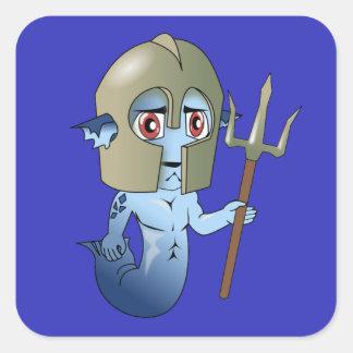 Merman Neptune's Warrior Square Sticker