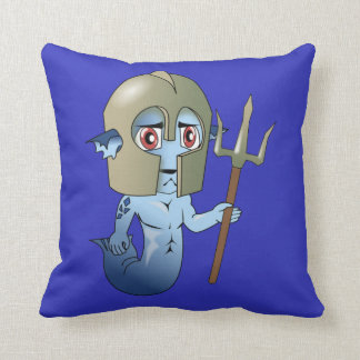Merman Neptune's Warrior Throw Pillow