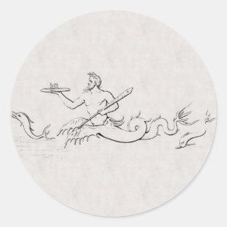 Merman Pegatina Redonda