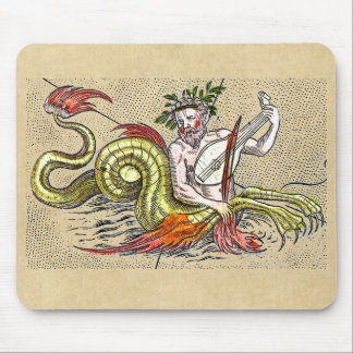 Merman Playing a Medieval Lyre Mouse Pad