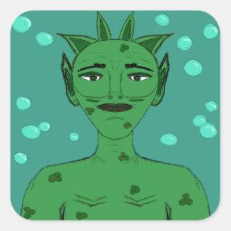Merman Sea Nymph Fantasy Alien Green Cartoon Square Sticker