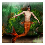Merman Swimming Poster
