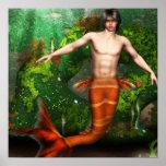 Merman Swimming Poster