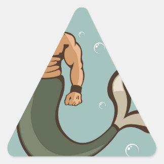 Merman Vector Triangle Sticker