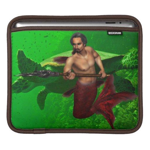 Merman with Giant Sea Turtle iPad Sleeve