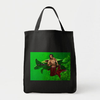 Merman with Sea Turtle Grocery Tote Grocery Tote Bag