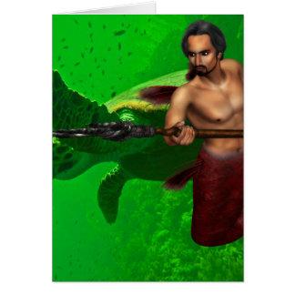 Merman with Sea Turtle Note Card