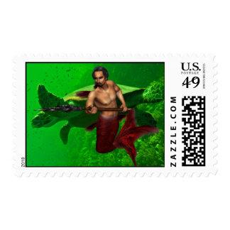 Merman with Sea Turtle Postage Stamp