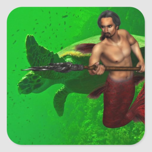 Merman with Sea Turtle Sticker