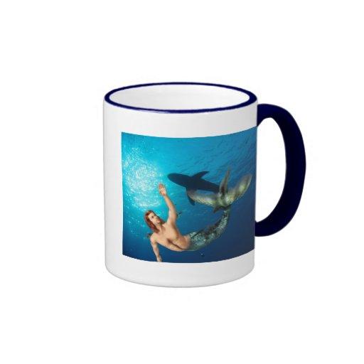 Merman with Shark Mug