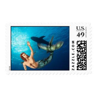 Merman with Shark Stamp