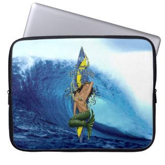 MerMarilyn Mermaid Surfboard Tropical Wave Laptop Computer Sleeve