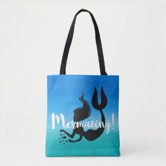 Mermazing Inscription Watercolor Blue Ombre Tote Bag