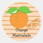Mermelada anaranjada etiqueta redonda