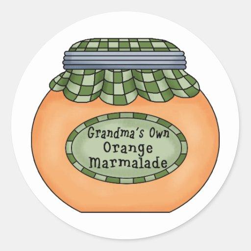 Mermelada anaranjada etiquetas redondas