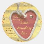 Mermelada de fresa dulce etiqueta redonda
