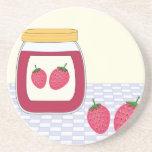 Mermelada de fresa hecha en casa posavasos personalizados