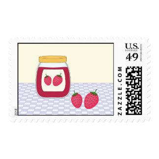 Mermelada de fresa hecha en casa sellos postales