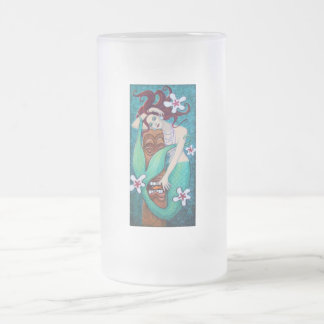 Mermiad's Tiki God Frosted Glass Beer Mug