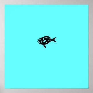 Mero del azul de Glow_Black-on-Aqua del océano Póster