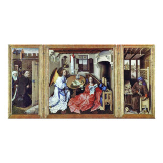 Merode Altar Overview Middle Panel: Annunciation R Photo Greeting Card