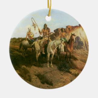 Merodeadores de la pradera, Seltzer, indios del Adorno Redondo De Cerámica