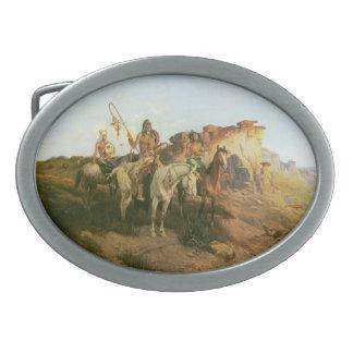 Merodeadores de la pradera Seltzer indios del vi Hebillas De Cinturon Ovales