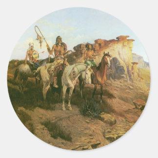 Merodeadores de la pradera Seltzer indios del vi Etiqueta Redonda