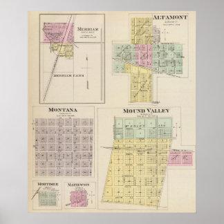 Merriam, Altamont, Montana, Mound Valley, Kansas Poster