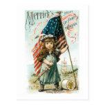 Merricks Thread Girl with USA Flag Postcard