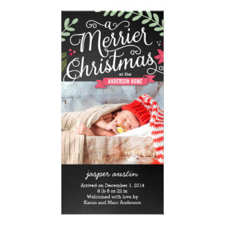 Merrier Christmas New Baby Holiday Photo Card