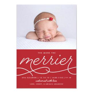 Merrier Newborn First Christmas Birth Announcement