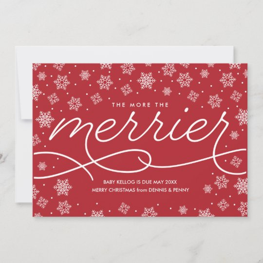 merrier pregnancy announcement christmas card - Pregnancy Announcement Christmas Card