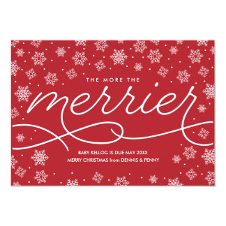 Merrier Pregnancy Announcement Christmas Card