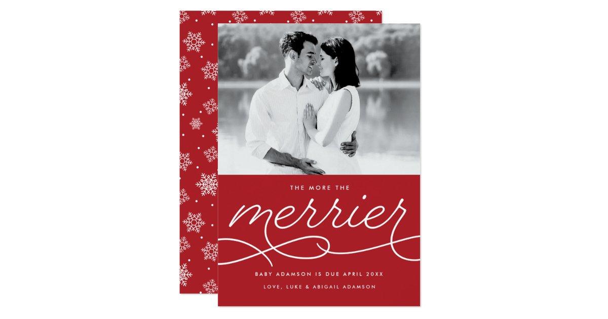 Pregnancy Announcement Card: Merrier Pregnancy Announcement Christmas Card
