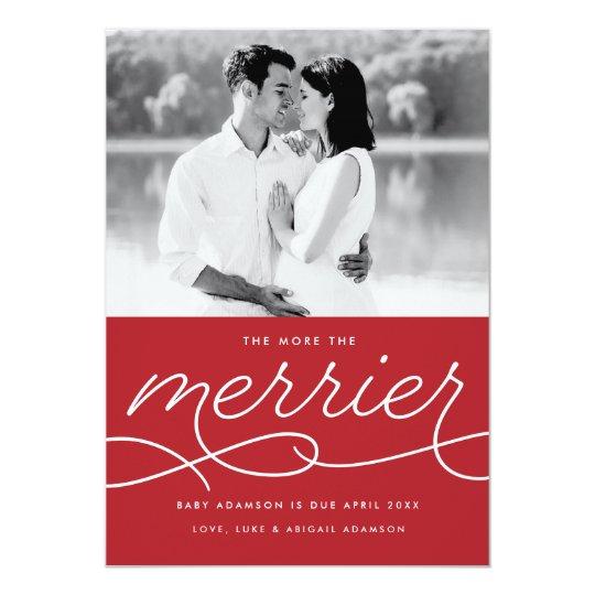 Merrier Pregnancy Announcement Christmas Card | Zazzle.com