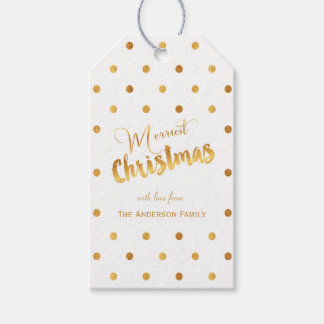 Merriest Christmas gold polka dots gift tags