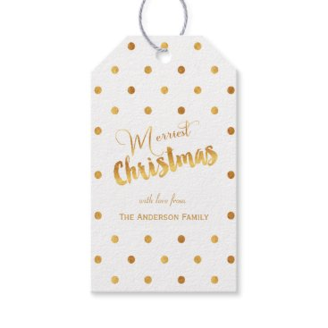 Christmas Themed Merriest Christmas gold polka dots gift tags