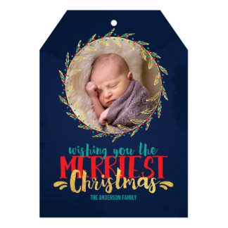 Merriest Christmas Holiday Photo 5x7 Paper Invitation Card