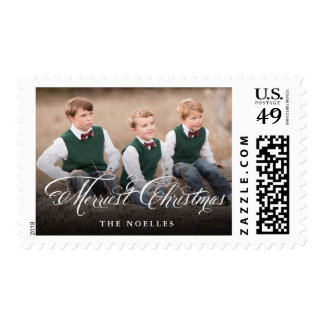 Merriest Christmas Script Holiday Photo Stamps