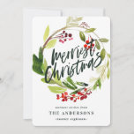 "Merriest Christmas watercolor floral Holiday Card<br><div class=""desc"">Merriest Christmas watercolor floral Holiday card. Beautiful watercolour painted foliage and modern script text. Part of a collection.</div>"