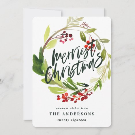 Merriest Christmas watercolor floral Holiday Card
