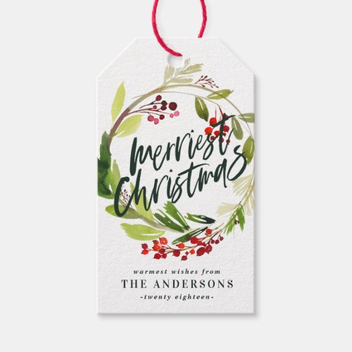 Merriest Christmas watercolor foliage floral Gift Tags