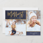 """Merriest Faux Gold Foil 2 Photo Flat Holiday Card<br><div class=""""desc"""">Affordable custom printed holiday photo cards with simple templates for customization. This elegant design features a faux gold foil border around a 2 photo collage layout. Modern calligraphy script text says Merriest Christmas Wishes. Personalize it with your photos, family name, the year or other custom text. Please note that the...</div>"""