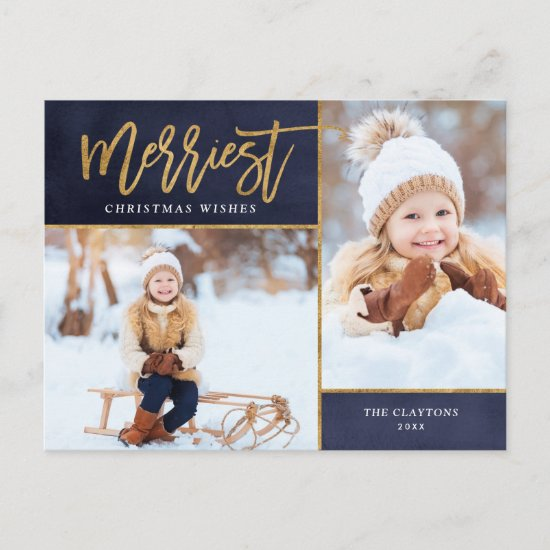 Merriest Faux Gold Foil 3 Photo Holiday Postcard