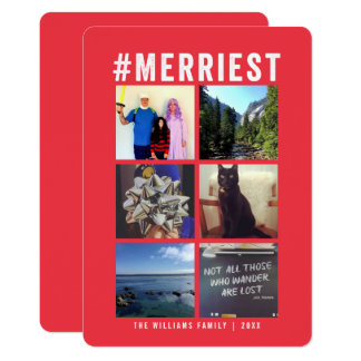 #Merriest Instagram Red Multi-Photo | Holiday Card
