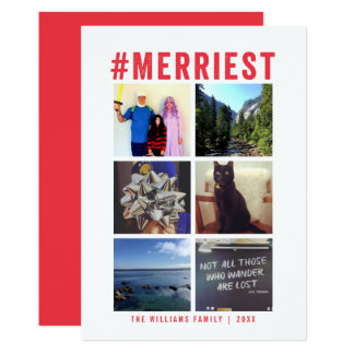 #Merriest Instagram White Multi-Photo | Holiday Card