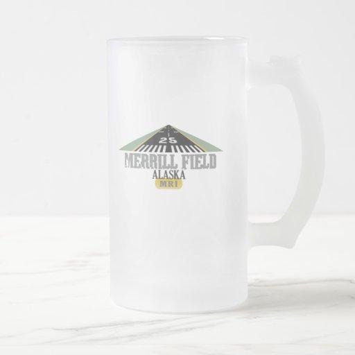 Merrill Field Alaska - Airport Runway Frosted Glass Beer Mug