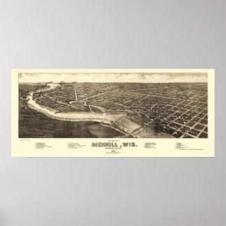 Merrill, WI Panoramic Map - 1883 Poster