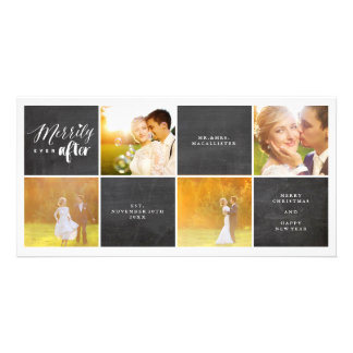 Merrily Ever After Chalkboard Photo Collage Card